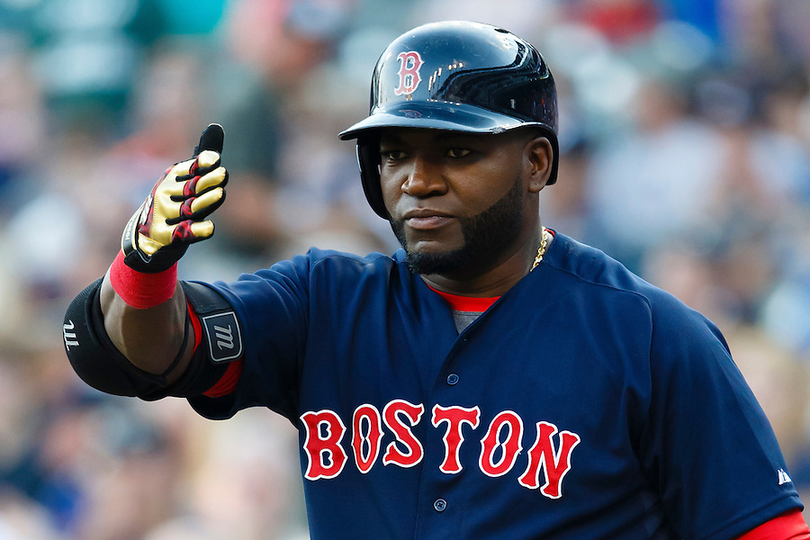 Aug 7, 2015; Detroit, MI, USA; Boston Red Sox designated hitter David Ortiz (34) waits to bat in the first inning against the Detroit Tigers at Comerica Park. Mandatory Credit: Rick Osentoski-USA TODAY Sports (Rick Osentoski/Rick Osentoski-USA TODAY Sports)