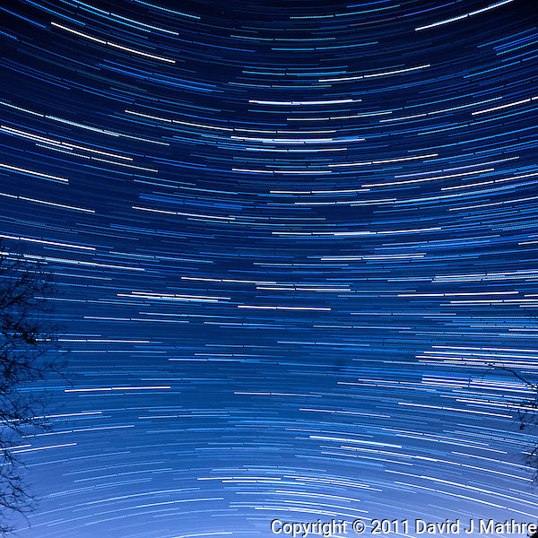 South View Star Trails. Late Autumn Night in New Jersey. Image taken with a Nikon D3x and 14-24 f/2.8 lens (ISO 400, 14 mm, f/5.6, 60 sec). Composite of 60 images combined using the Startrails program. (David J Mathre)