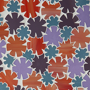 Flowers, a glass waterjet mosaic shown in Sonia, Rolly, Sardonyx and Alexander, is part of the Erin Adams Collection for New Ravenna Mosaics. Take the next step: prices, samples and design help, http://www.newravenna.com/showrooms/ (New Ravenna Mosaics)
