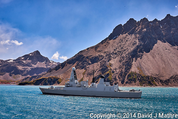 HMS Dragon (D35) at Anchor as we Departed Grytviken, South Georgia. Image taken with a Fuji X-T1 camera and 23 mm f/1.4 lens (ISO 200, 23 mm, f/16, 1/125 sec). (David J Mathre)