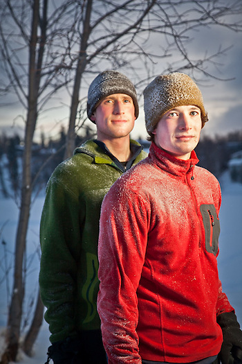 Joggers, Ben and Sam Muse, on the Tony Knowles Coastal Trail near Westchester Lagoon, Anchorage (Clark James Mishler)