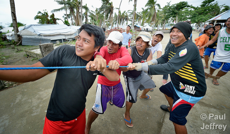 Men pull on a rope to guide a coconut tree that is being felled on Jinamoc Island, part of the municipality of Basey in the Philippines province of Samar that was hit hard by Typhoon Haiyan in November 2013. The storm was known locally as Yolanda. The felled tree will be cut into lumber for the construction of temporary houses. The ACT Alliance has been providing a variety of forms of assistance to survivors here, including a cash for work program that pays local residents to saw up downed and damaged coconut trees to provide lumber for shelter construction. Coordinated by the National Council of Churches in the Philippines, the recovery program includes shelter construction, livelihood generation, reforestation, and assistance to women's and farmers' groups. Finn Church Aid will assist with school construction, and Norwegian Church Aid will help residents build permanent comfort rooms (toilets). (Paul Jeffrey)
