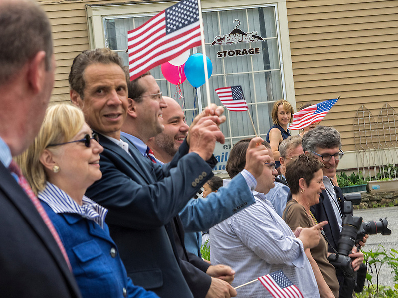 Chappaqua, NY, USA, May 30: Democratic Presidential Candidate Hillary Clinton and NY Governor Andrew Cuomo march in the Memorial Day Parade on May 30, 2016 in the Clinton's home town of Chappaqua NY. (Marianne A. Campolongo/© 2016 Marianne A. Campolongo)
