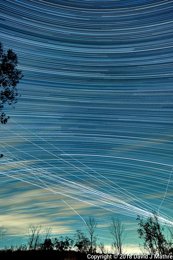 Star Trails looking South (19:25-03:15). Composite of images taken with a Nikon D810a camera and 19 mm f/4 PC-E lens (ISO 200, 19 mm, f/5.6, 120 sec). Raw images processed with Capture One Pro and Photoshop CC (scripts, statistics, maximum). (David J Mathre)