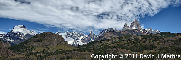 Patagonia Panorama. Image taken with a Nikon D3x and 16-28 mm f/4 VR lens (ISO 100, 31 mm, f/11, 1/200 sec). Five image HDR with Nik HDR Pro. (David J. Mathre)