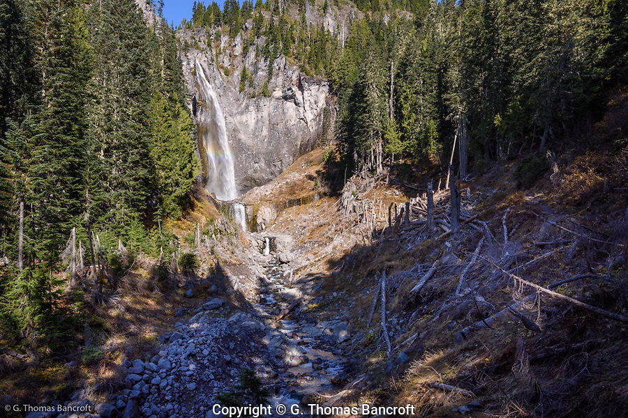 The water drops almost 300 feet over the middle section of Comet Falls and then another 20 feet below that before it runs down Van Trump Creek. (G. Thomas Bancroft)