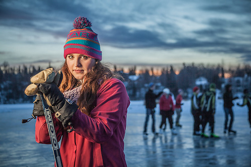 Civil Engineering student Janey Hoefler at Westchester Lagoon, Anchorage (© Clark James Mishler)