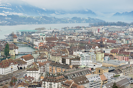 LUCERNE, SWITZERLAND - FEBRUARY 19, 2012: Aerial view to the historical part of the Lucerne city, Switzerland. (Dmitry Chulov)