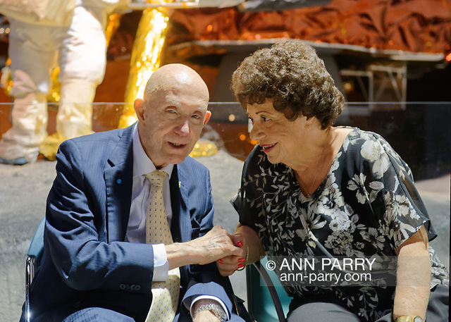 Garden City, New York, U.S. November 14, 2019. L-R, Apollo 10 Commander Lt. Gen. THOMAS STAFFORD talks with MARY SPINOSA, of Hauppauge, in the LEM Room during the 17th Annual Cradle of Aviation Museum Air and Space Gala. Tom Stafford received Spirit of Discovery Award. Spinosa was seated with the East West Industries table. (© 2019 Ann Parry/Ann-Parry.com)