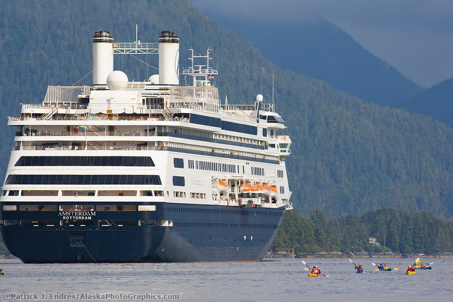 Alaska tourism photos: Holland American Cruise ship in Sitka Sound, Sitka, Alaska (Patrick J. Endres / AlaskaPhotoGraphics.com)