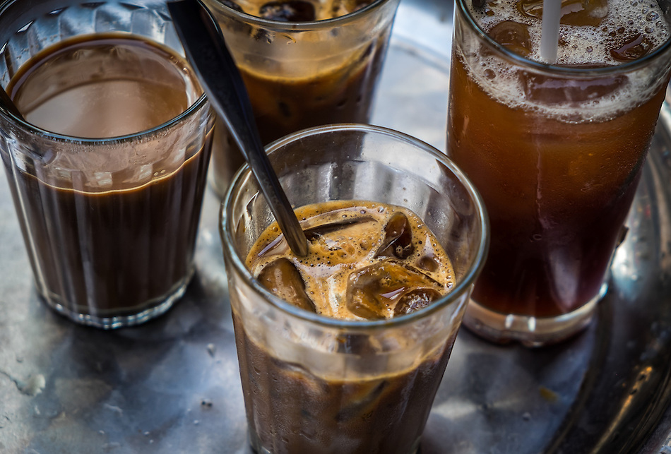 HANOI, VIETNAM - CIRCA SEPTEMBER 2014:  Cold coffee in the streets of Hanoi, Vietnam. (Daniel Korzeniewski)