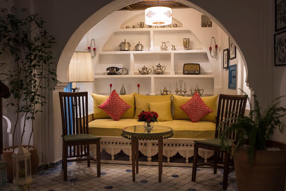 CHEFCHAOUEN, MOROCCO - CIRCA APRIL 2017: Interior decorations of the traditional Riad Cherifa in Chefchaouen. (Daniel Korzeniewski)
