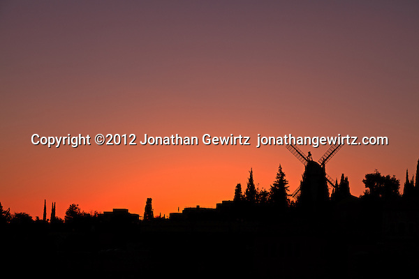 The Moses Montefiore windmill at Yemin Moshe at sunset. (&copy; 2012 Jonathan Gewirtz / jonathan@gewirtz.net)