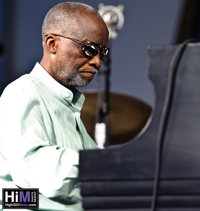 Ahmad Jamal with James Cammack on bass, Manolo Badrena on percussion, and Herlin Riley on drums at Jazz Fest 2011 on day 2. (Golden G. Richard III)