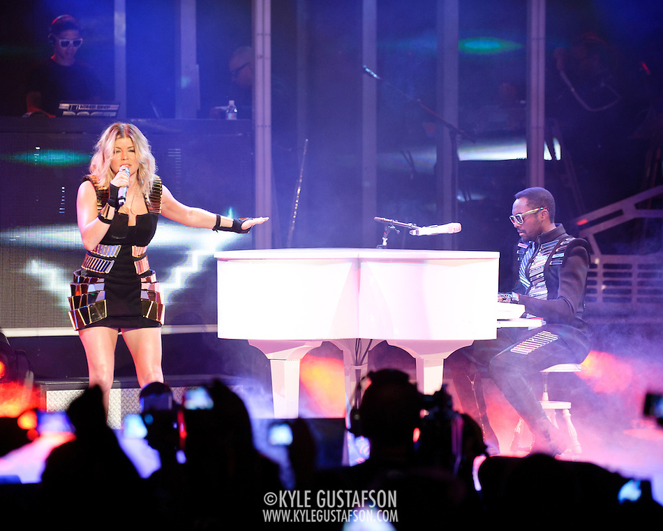 "COLUMBIA, MD - June 9th, 2011: Will.I.Am. and Fergie of the Grammy Award-wining hip-hop group The Black Eyed Peas perform at Merriweather Post Pavilion in Columbia, MD. The group recently released the single ""Don't Stop The Party"" from their sixth studio album, The Beginning. (Photo by Kyle Gustafson/For The Washington Post) (Kyle Gustafson/FTWP)"