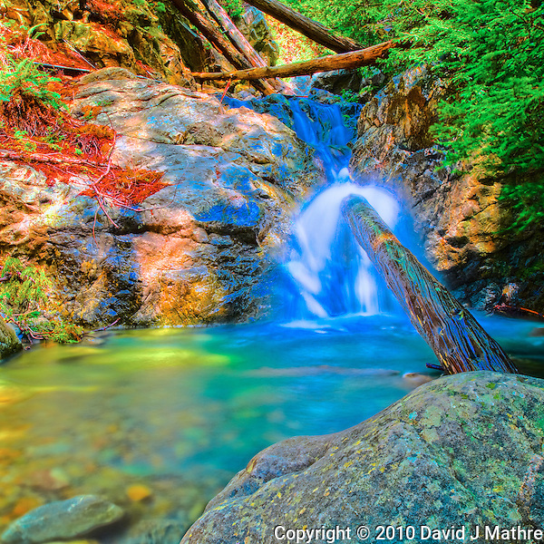 Redwood Gulch Waterfall, HDR Exercise. Image(s) taken with a Nikon D3x and 24 mm f/3.5 PC-E lens Singh-Ray filters (ISO 100, 24 mm, f/16, 2.5 to 30 sec). Raw image processed with Capture One Pro, HDR Express: Artistic. (David J Mathre)