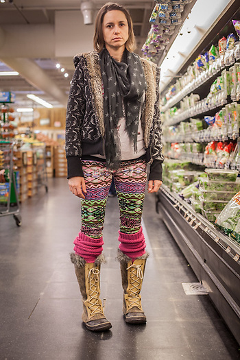 "Cameron Wright at Sprouts grocery store in Edmonds, Oklahoma.  ""I'm into aquaponics, my kids are home schooled, and my outfit is all second-hand.""  cameronwright630@gmail.com (© Clark James Mishler)"