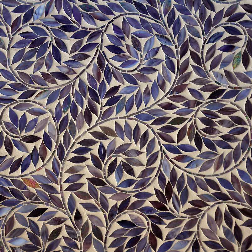 Jacqueline Vine waterjet mosaic field shown in Amethyst Jewel glass. (New Ravenna Mosaics 2010)