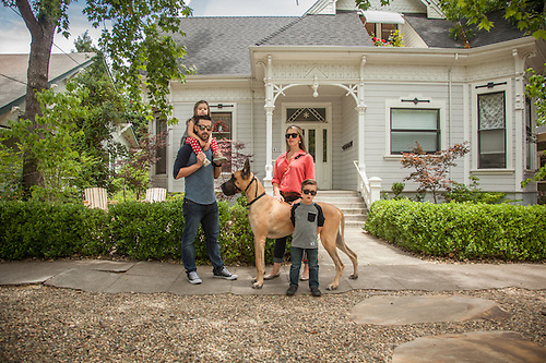 San Diego residents Jeff and Jodi Hickman take a walk down Cedar Street with their kids and Great Dane, Major. (Clark James Mishler)