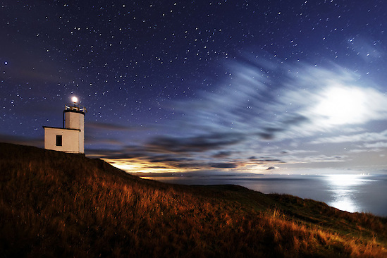 Cattle Point Lighthouse under starry sky, San Juan Island,  San Juan County, Washington, USA (Brad Mitchell Photography)