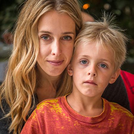 Sebastopol financal advisor Ali Beranek and her son, Reid, await their order at the Calistoga Inn (Clark James Mishler)