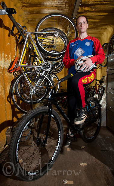 22 MAY 2015 - IPSWICH, GBR - 2012 European and British Individual Champion Lauren Jacobs of Ipswich Cycle Speedway Club pictured at the club's track at Whitton Sports and Community Centre in Ipswich, Suffolk, Great Britain (PHOTO COPYRIGHT © 2015 NIGEL FARROW, ALL RIGHTS RESERVED) (NIGEL FARROW/COPYRIGHT © 2015 NIGEL FARROW : www.nigelfarrow.com)