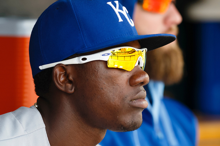 May 9, 2015; Detroit, MI, USA; Kansas City Royals center fielder Jarrod Dyson (1) watches from the dugout during the eighth inning against the Detroit Tigers at Comerica Park. Mandatory Credit: Rick Osentoski-USA TODAY Sports (Rick Osentoski/Rick Osentoski-USA TODAY Sports)