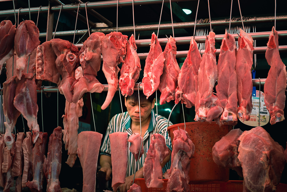 Butcher at Hong Kong street market (Mark Eden)