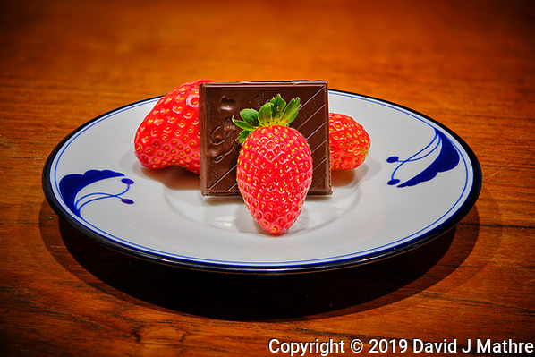 Indoor hydroponic Strawberries and Chocolate. Composite of 50 focus stacked images taken with a Fuji X-T3 camera and 80 mm f/2.8 macro lens (ISO 160, 80 mm, f/2.8. 1/15 sec). Raw images processed with Capture One Pro and Helicon Focus. (DAVID J MATHRE)