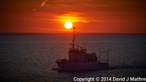 RV EGS Pioneer at Sunrise in the English Channel from the Deck of the MV Explorer. Semester at Sea, Summer 2014 Voyage. Image taken with a Nikon Df camera and 70-200 mm f/4 VR lens (ISO 400, 200 mm, f/16, 1/250 sec). Raw image processed with Capture One Pro, Focus Magic and Photoshop CC 2014. (David J Mathre)