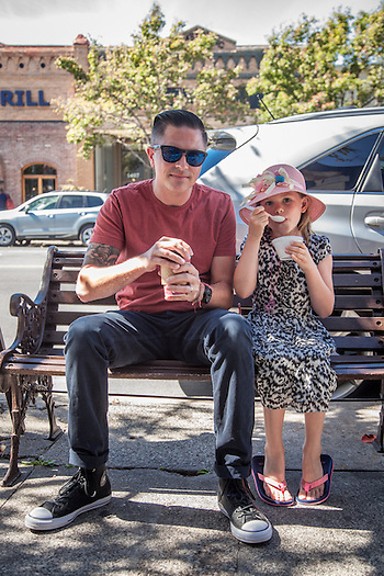 """Jos had the day off from school...we decided it was the perfect day to put the top down and drive to Calistoga.""   -Santa Rosa resident David Tribbey with his Daughter, Joslyn, in downtown Calistoga (Clark James Mishler)"