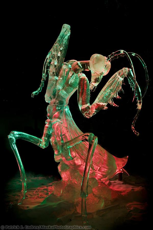 Ice sculpting photos: Aiming Eyes, by Junichi Nakamura, Peter Slavin. 2007 World Ice Art Championships, Single block sculpture, first place, realistic (Patrick J. Endres / AlaskaPhotoGraphics.com)