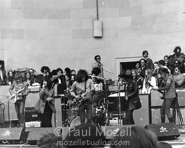 The Jefferson Airplane give a free concert at the bandshell in Central Park, c. 1969 (Paul Mozell)