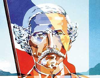 Obra que representa a Juan Pablo Duarte, fundador de la República Dominicana, y la Bandera Nacional Dominicana