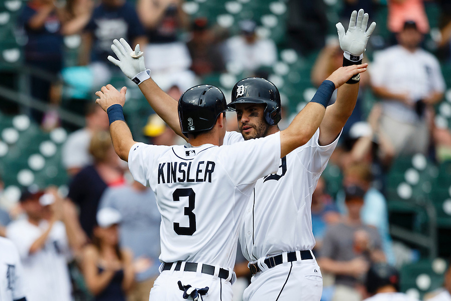 Jun 14, 2015; Detroit, MI, USA; Detroit Tigers right fielder J.D. Martinez (28) receives congratulations from second baseman Ian Kinsler (3) after he hits a three run home run in the sixth inning against the Cleveland Indians at Comerica Park. Mandatory Credit: Rick Osentoski-USA TODAY Sports (Rick Osentoski/Rick Osentoski-USA TODAY Sports)