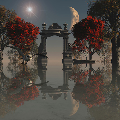 Surrealism is one of the most unique forms of art as everyone can interpret it in their own way but the true meaning lies with the artist. This beautiful painting incorporates all of the features of a truly surreal environment from the glowing starburst and emerging moon to the bright red leaves that have yet to fall from the trees. The attention to detail with reflections from all of the elements in the painting is what really sets this piece apart as it is so intricate you will always find something new to look at. Also, the hunting owl fits perfectly into the landscape, searching for its prey in this magical and surreal environment. (Jan Keteleer)