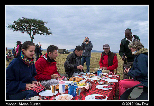 Post-Hot Air Balloon Champagne Breakfast.Maasai Mara, Kenya.September 2012 (Kim Day)