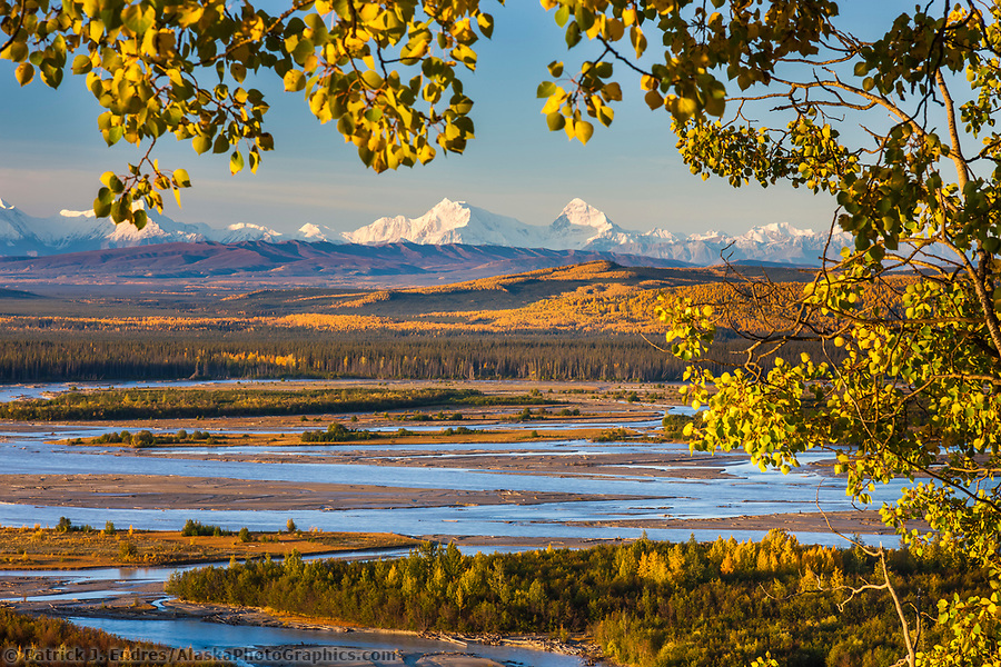 Alaska river photos: Mt hess and deborah, (left to right), prominent peaks in the Alaska Range mountains, Tanana River in the foreground, Interior, Alaska. (Patrick J. Endres / AlaskaPhotoGraphics.com)