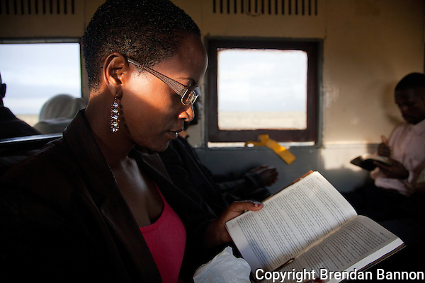 Patricia Wachira, rides the train from Athi River to her job in Nairobi. &quot;You arrive at work fresh, you've not spent the whole time in pollution, in the jams, with all the noise. There was no way I could read my Bible on the matatu.&quot; (Brendan Bannon)