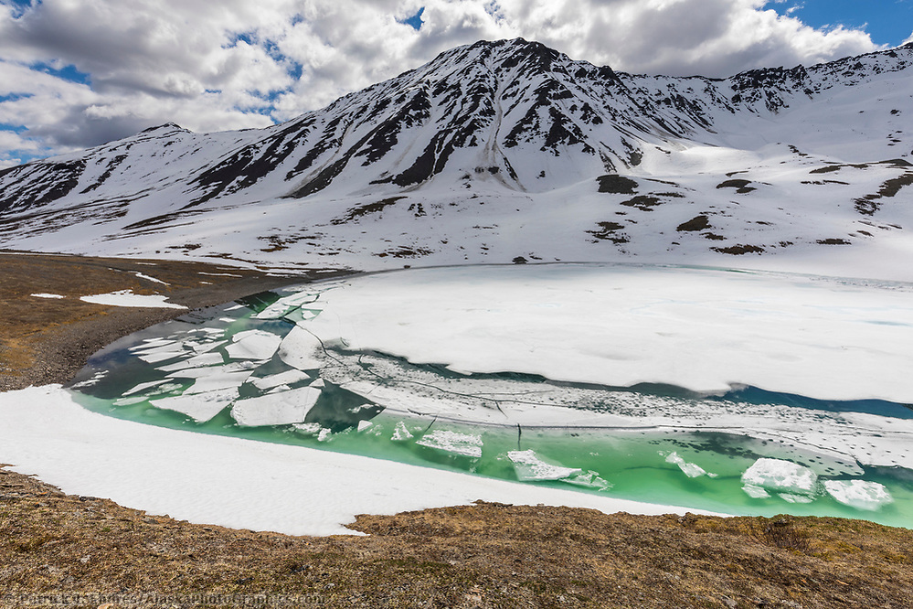 A mountain lake begins to melt in oolah pass, Brooks Range, Gates of the Arctic National Park, Alaska. (Patrick J Endres / AlaskaPhotoGraphics.com)