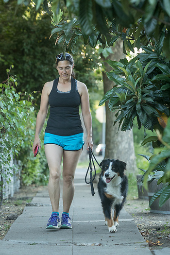 Executive Director of Solage Resort, Helen Brown with her dog, Chui, near her home in Calistoga (Clark James Mishler)