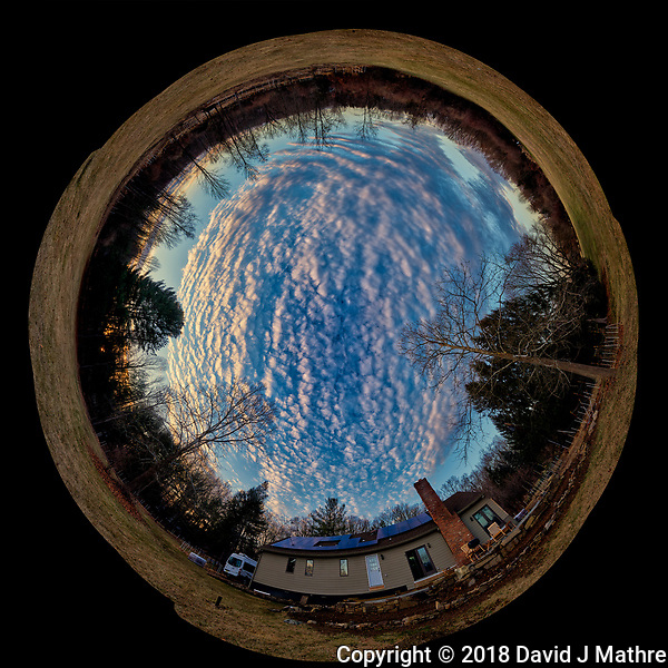 Inverse Little Planet Panorama of Late Afternoon Winter Clouds and Sky Over New Jersey. Composite of 12 portrait images taken with a Nikon D810a camera and 14-24 mm f/2.8 zoom lens (ISO 200, 14 mm, f/8, 1/100 sec). Raw images processed with Capture One Pro, Photoshop CC, and AutoGiga Pan Promo. (David J Mathre)