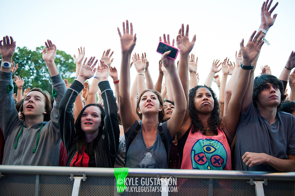 COLUMBIA, MD - October 6th, 2012 - The crowd at the 2012 Virgin Mobile FreeFest in Columbia, MD. reacts as rapper Nas takes the stage.(Photo by Kyle Gustafson / For The Washington Post) (Kyle Gustafson/For The Washington Post)