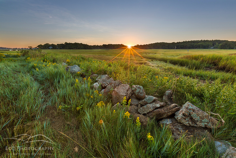 Sunrise over the salt marsh along the Essex River at the Cox Reservation in Essex, Maassachusetts. (Jerry and Marcy Monkman)