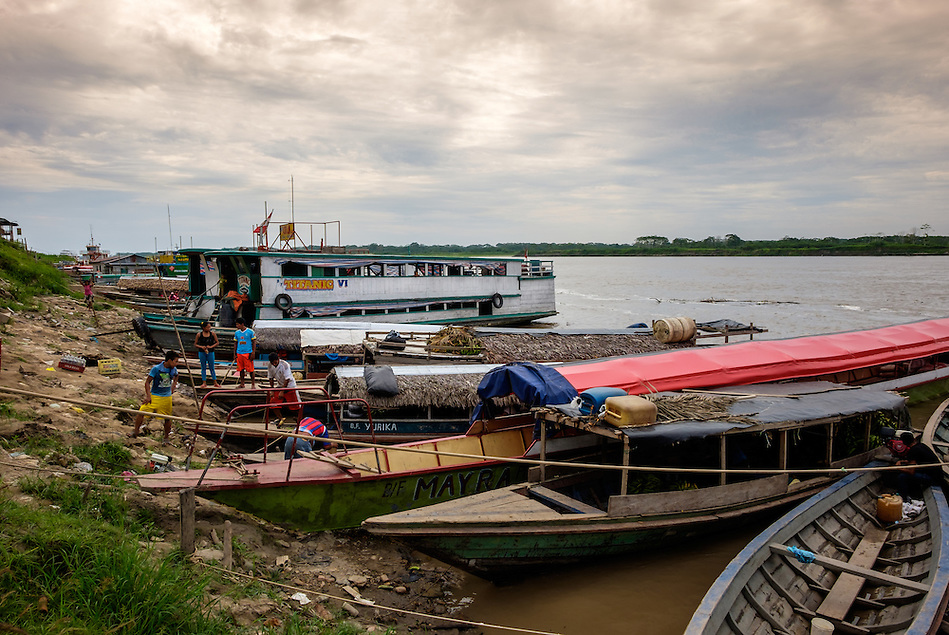 NAUTA, PERU - CIRCA OCTOBER 2015: Boats in the port of Nauta in the Peruvian Amazon. (Daniel Korzeniewski)