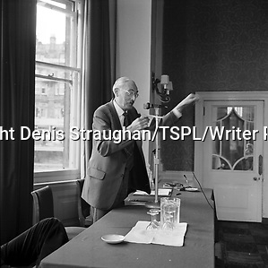 Broadcaster and writer Dr Magnus Pyke gesticulating to a blur at a Meet the Author session held in the North british hotel in Edinburgh during the Festival 1975. Copyright Denis Straughan/TSPL/Writer Pictures contact +44 (0)20 8224 1564 sales@writerpictures.com www.writerpictures.com (Denis Straughan/TSPL/Writer Pictures)