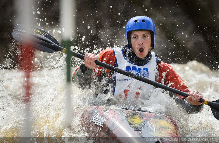 Hunter Smoak of Ames, Ia. races in the K1 men's Novice/Expert class on the slalom course of the 45th Annual Missouri Whitewater Championships. Smoak placed fifth in the class and first in the downriver K1 Men's Novice class. The Missouri Whitewater Championships, held on the St. Francis River at the Millstream Gardens Conservation Area, is the oldest regional whitewater slalom race in the United States. Heavy rain in the days prior to the competition sent water levels on the St. Francis River to some of the highest heights that the race has ever been run. Only expert classes were run on the flood level race course. Novices who chose to race were re-classified as