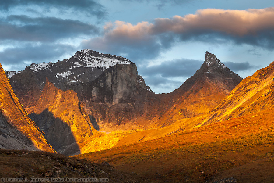 Morning light on Xanadu and Arial peaks, Gates of the Arctic National Park, Alaska. (Patrick J Endres / AlaskaPhotoGraphics.com)