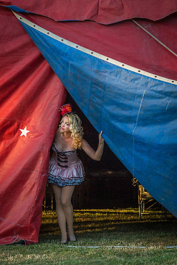 Nicole Laumb anticipates opening night for the Flynn Creek Circus in Calistoga. (Clark James Mishler)