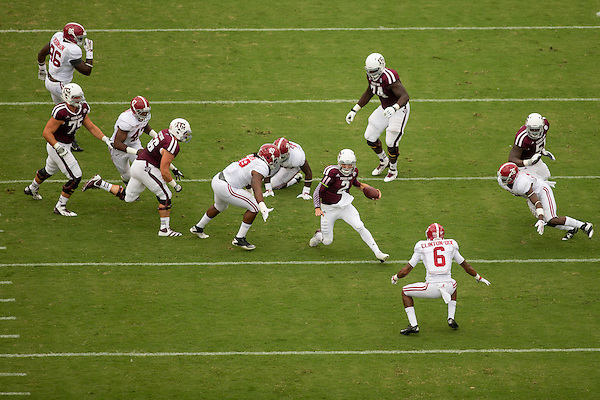 COLLEGE STATION, TX - SEPTEMBER 14: Johnny Manziel #2, Alabama at Texas A&M, photographed at Kyle Field in College Station, Texas on September 14 2013. Photograph © 2013 Darren Carroll (Darren Carroll)